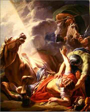 The Conversion of St. Paul, by Nicolas-Bernard Lepicie, 1767. Lubos falls off from his bicycle, which resembles a horse