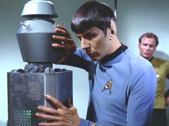 """Fascinating code"" (Picture of Dr. Spock programming a quantum computer in PyQMeld)"