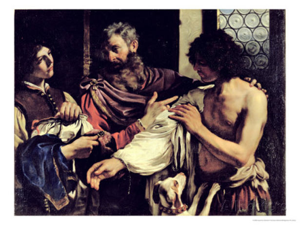 The Prodigal Son (oil on canvas), Guercino (Giovanni Francesco Barbieri) (1591-1666) / Galleria Borghese, Rome, Italy