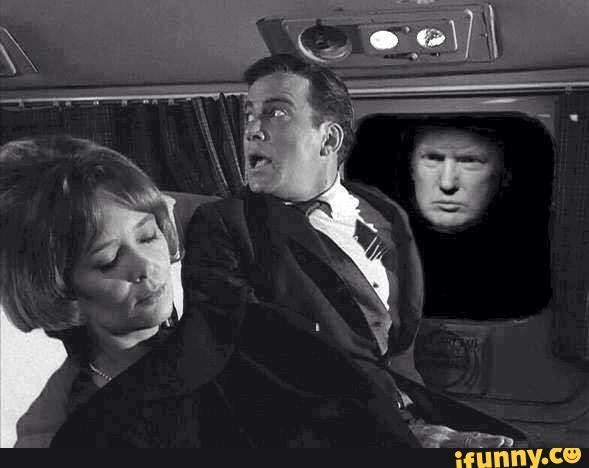 Donald Trump scaring Captain Kirk in an episode of the Twilight Zone.